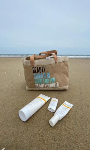 Beach, beach bag, and favorite Beautycounter sunscreen