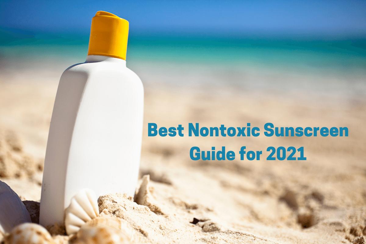 Sunscreen bottle on beach