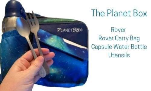 Picture of the reusable eco friendly the Planet Box, utensils, and water bottle.
